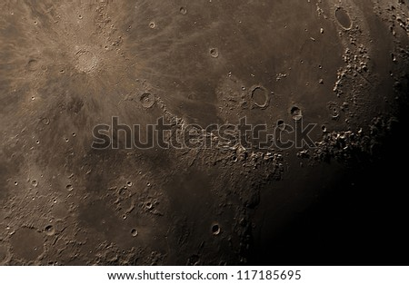real detailed picture of the moon surface, taken with a great telescope using 5 meters of focal length - stock photo