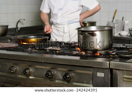 real dirty restaurant kitchen - stock photo