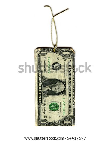 Real Dollar Bill As A Gift Tag Hanging On A String Isolated On White Background - stock photo