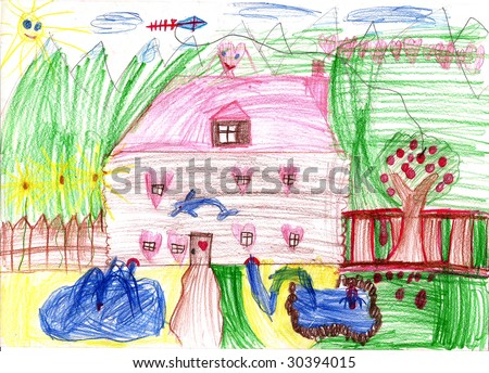 Real draw, home from dreamland.  Children's house from dreams. Fairyland, house of the lucky family. - stock photo