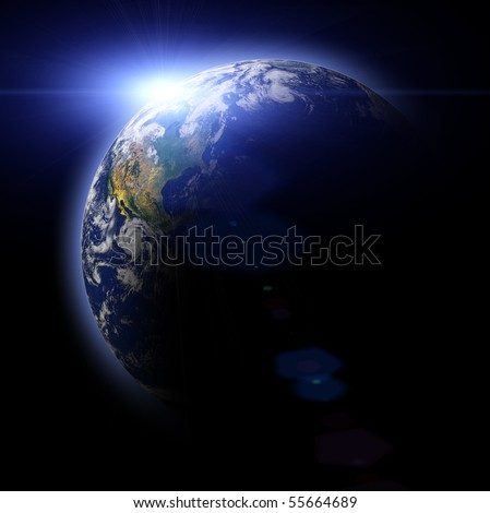 Real Earth Planet. Blue Idill. - stock photo