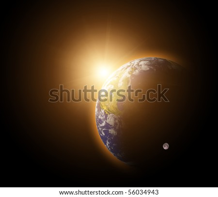 Real Earth Planet in blue sun - stock photo