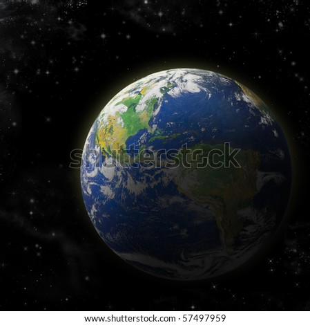 Real Earth Planet in deep space. Sunset. Map is used from NASA site - stock photo