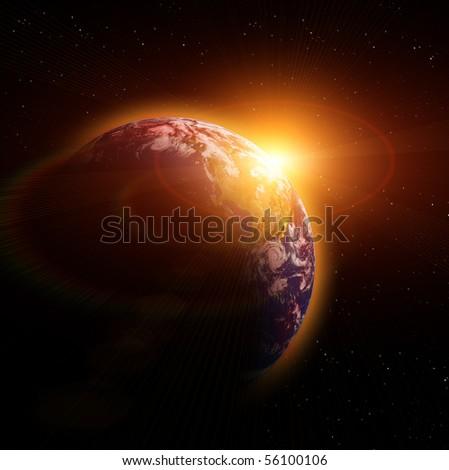 Real Earth Planet. Yellow Idill. - stock photo