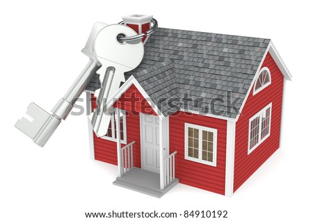 Real Estate Agency. House keys hanging on chimney of a Red House - stock photo