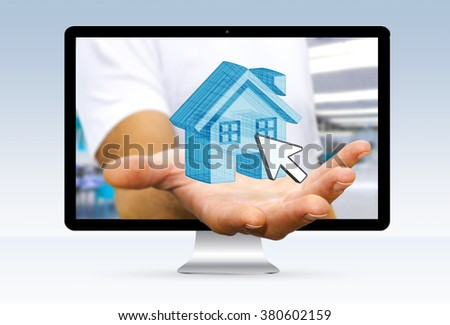 Real Estate agent going out of a computer screen with blue house in his hand