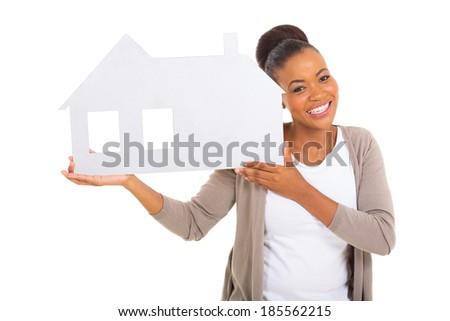 real estate agent holding paper house isolated on white background - stock photo
