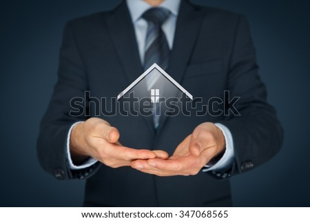 Real estate agent offer house. Property insurance and security concept. - stock photo
