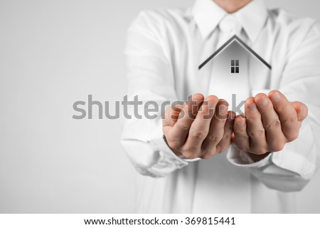 Real estate agent offer house. Property insurance and security concept. White background.