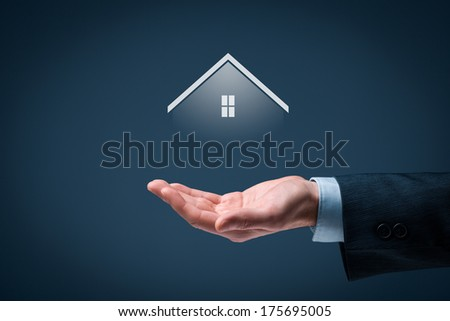 Real estate agent offer house. Property insurance, mortgage and real estate services concept. - stock photo