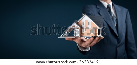 Real estate agent offer house represented by model. Wide banner composition. - stock photo