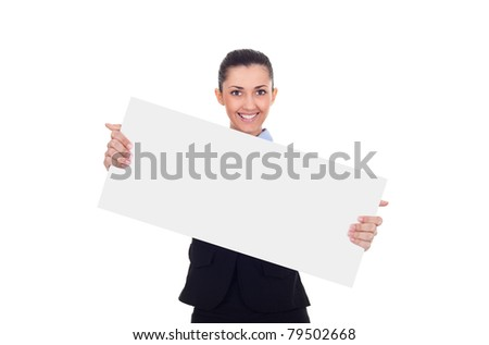 real estate agent or businesswoman holding blank sign , isolated on white background, full length