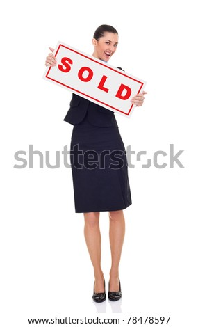 real estate agent or businesswoman holding sold sign , isolated on white background, full length - stock photo