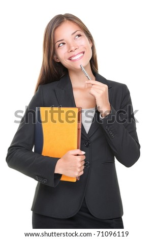 Real estate agent thinking. Business decision: woman making a choice on white background. Beautiful professional asian caucasian realtor. - stock photo