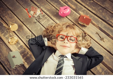 Real estate agent. Unusual portrait of young businessman in modern loft office. Success, creative and innovation concept. High angle view - stock photo