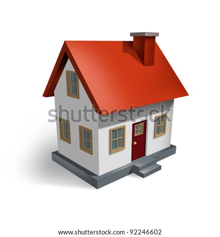 Real Estate and the housing industry for homes for sale  as a symbol of the residential house and home market as well as the construction economy as shown by a single building structure on white. - stock photo