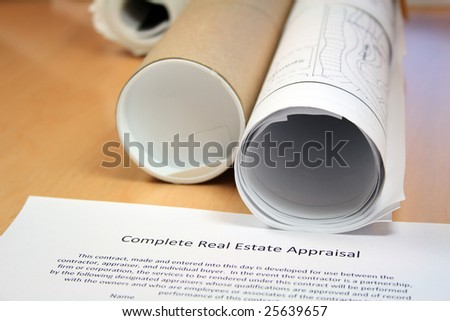 Real Estate Appraisal and Blueprints - stock photo