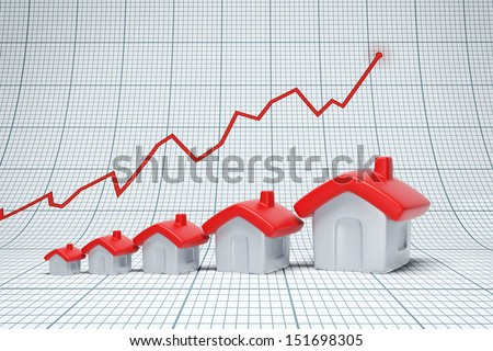 Real estate are raising. Positive chart - stock photo