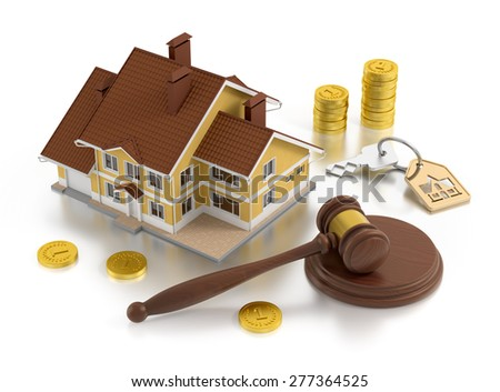 Real Estate Auction. Composition on the subject of real estate. 3D rendered image. - stock photo
