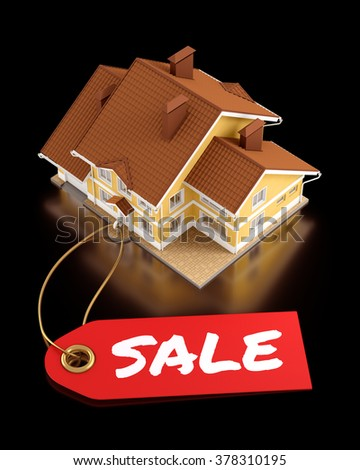 Real Estate Auction. Composition on the subject of Real Estate Trading. 3D rendered graphics on black background. - stock photo
