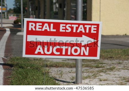Real Estate Auction Sign - stock photo