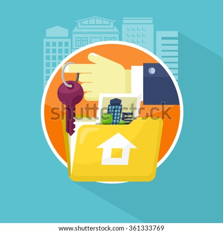 Real estate broker design flat. Real estate agent, house building, property home, realtor and rent, sale housing, buy apartment, key and construction illustration. Raster version - stock photo