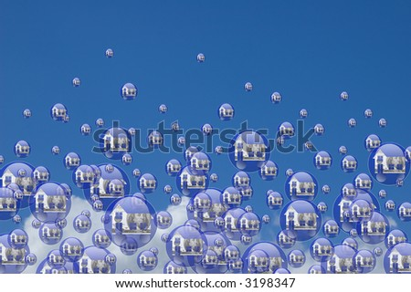 Real estate bubbles floating in the sky