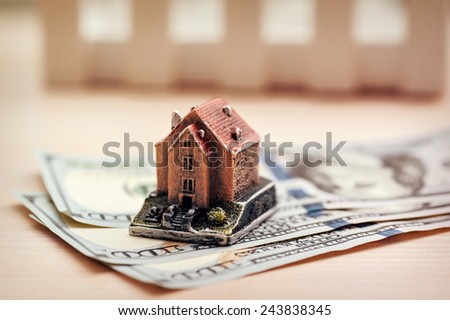 Real estate business concept. Dollar banknote with House. - stock photo