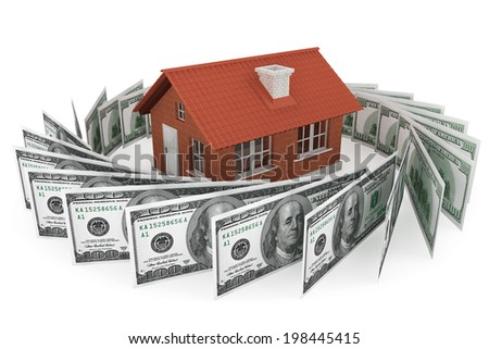 Real estate business concept. Dollars banknotes with Brick House on a white background - stock photo