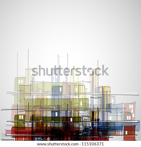 real estate city abstract houses business background - stock photo