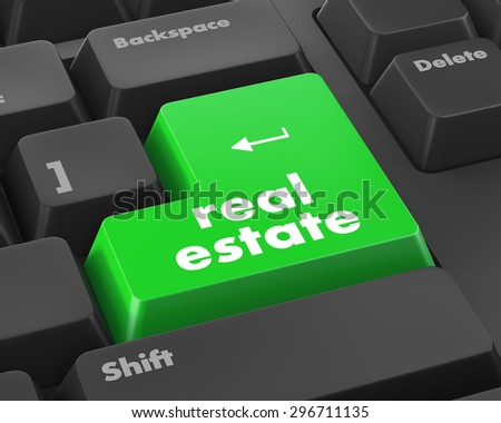 real estate computer key showing internet concept