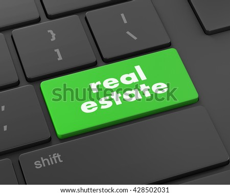 real estate computer key showing internet concept, 3d rendering