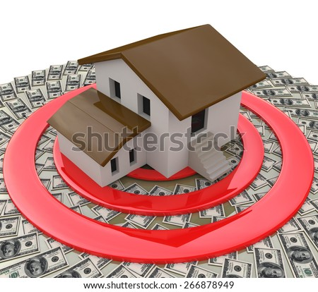 Real estate concept depicting a house on top of a target and money - stock photo