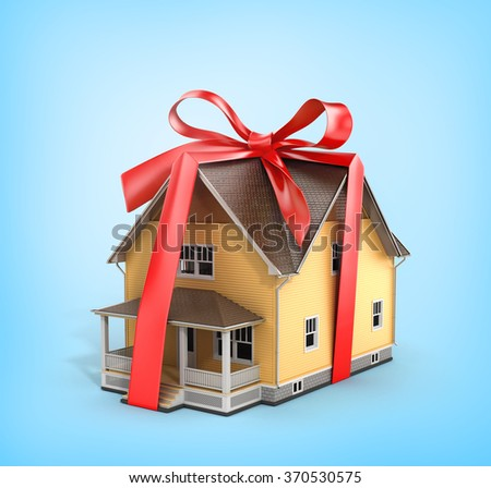 Real estate concept. House architectural model with red bow on a blue background. Concept of gift. - stock photo
