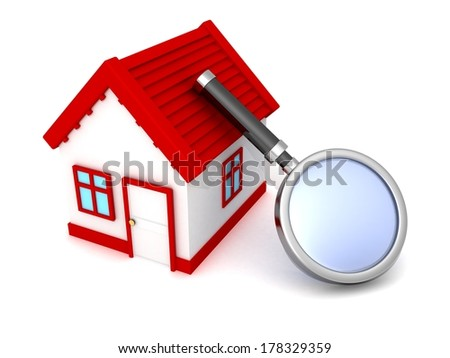 real estate concept search house with magnifying glass - stock photo