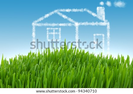 Real estate concept with houses in the sky - stock photo