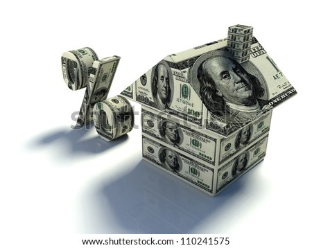real estate concept with mini house, Us dollars and dollar sign