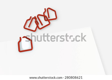 Real estate contract document template with red paper clip on white background - illustration clipping path - stock photo