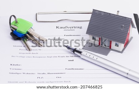 Real estate contract with house, pen and keys, isolated on white background