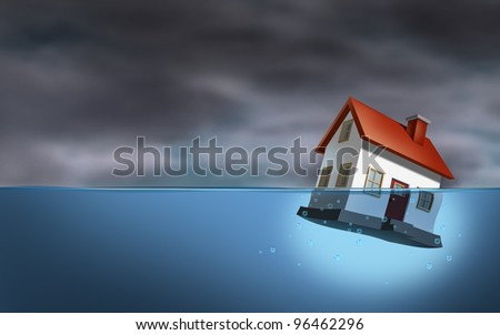 Real estate crisis and housing trouble as a sinking home in water as a dangerous dark stormy cloud background as home builder concept of house challenges and the business of mortgage rates. - stock photo