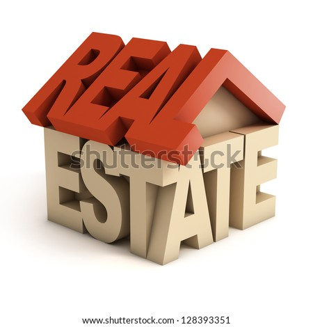 real estate 3d icon - stock photo