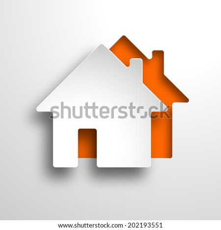 real estate 3d vector orange background - stock photo