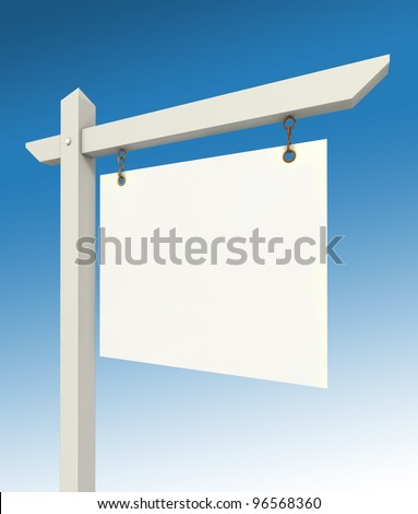 real estate empty sign on blue background with two clipping paths