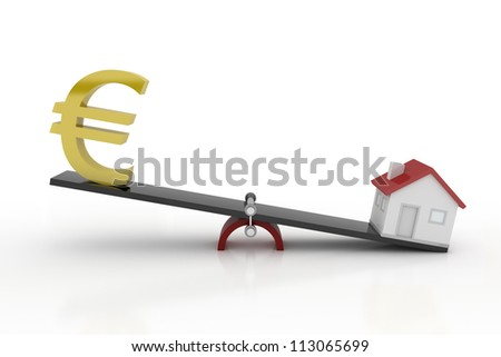 Real Estate - Euro and House on Weight Scale - stock photo
