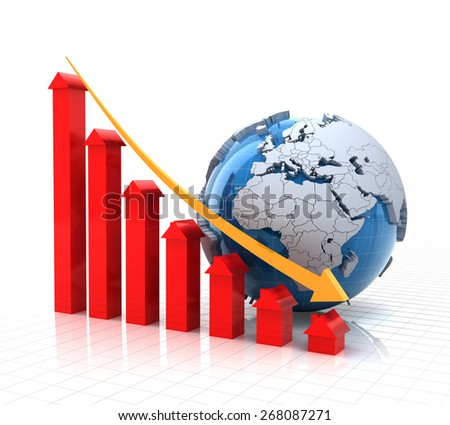 Real estate falling chart with globe, 3d render, white background - stock photo