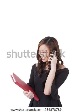 Real estate female agent talking on mobile phone. Busy businesswoman working on white background. - stock photo