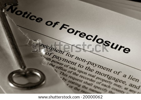 Real estate financial lender home foreclosure notice and open mailing envelope with old skeleton house key (fictitious document with authentic legal language)