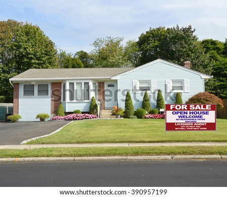 Real estate for sale open house (another success let us help you buy sell your  next home)  welcome sign Beautiful Landscaped Suburban Ranch Style Home Residential Neighborhood USA - stock photo