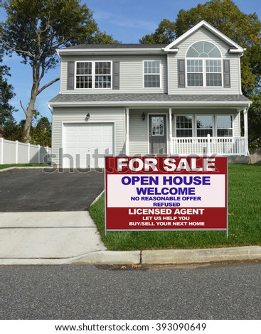 Real estate for sale open house (another success let us help you buy sell your  next home)  welcome sign Suburban McMansion House Residential Neighborhood USA - stock photo