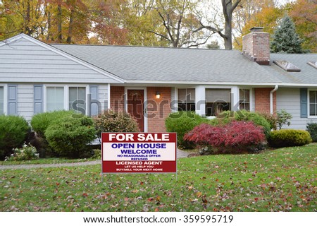 Real estate for sale open house welcome sign Brick Ranch Home Autumn Fall Day residential neighborhood USA